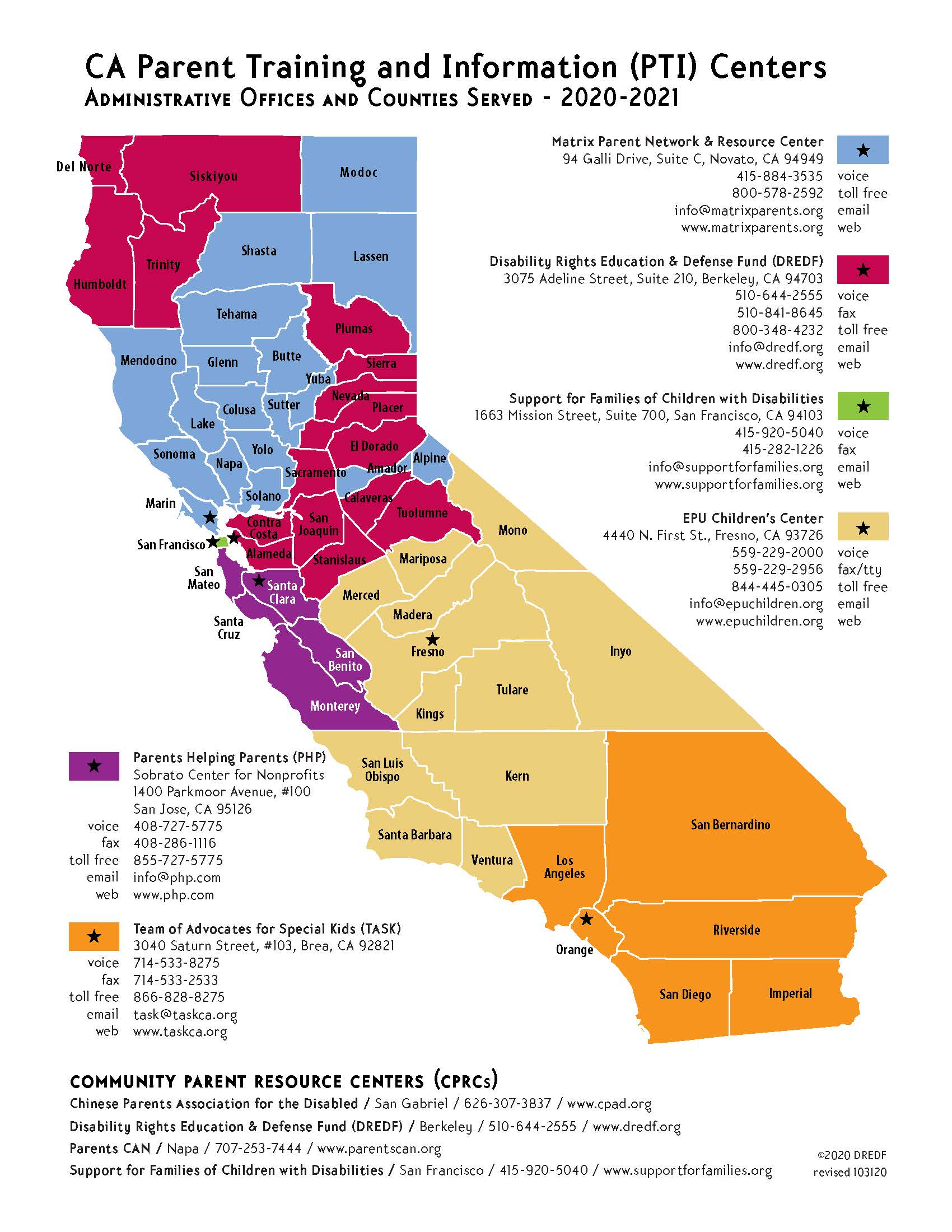 Image shows map of California with county regions assigned to parent centers. Information is also provided in text in the other fields on this page.